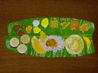 South Indian Thali (meals) served traditionally on banana leaf