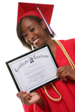 A pretty woman holding her certificate at graduation poster