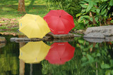 colorful umbrella at the pond side poster