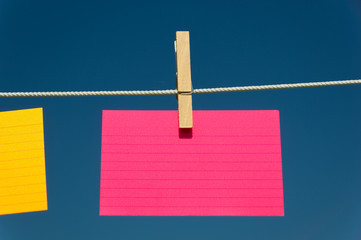 blank Pink index card on a clothesline