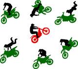 Fototapety Silhouettes of stuntmen on motorcycles in flight.