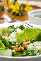 Sharp and sweet green organic salad