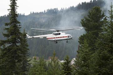 Rescue helicopter landing Hamar-Daban meteostation