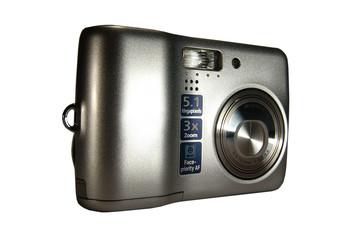 Portable digital photo camera. Isolated on white.