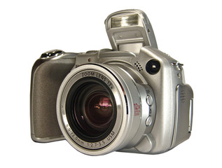 Silver digital photo camera. Isolated on white.