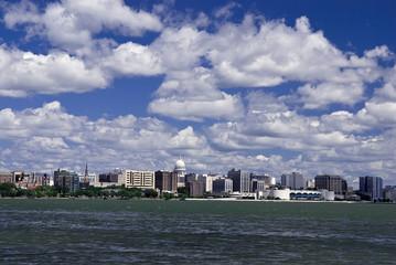 Madison Wisconsin skyline across the lake