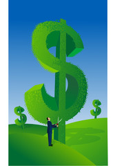 Businessman with Money Growing on Tree