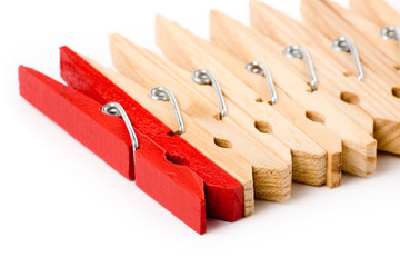 Clothespin with white background, concept of teamwork