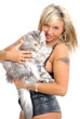sexy woman holding, hugging, kissing her cat
