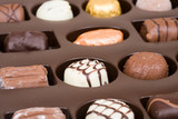 Chocolate tray with assorted Belgian chocolates poster