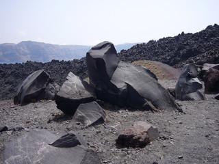Lave sur le volcan de Santorin