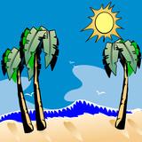 Ocean Beach Cartoon. poster