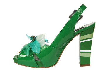 Female green shoes on a white background