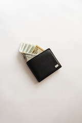 Wallet with sticking out banknotes