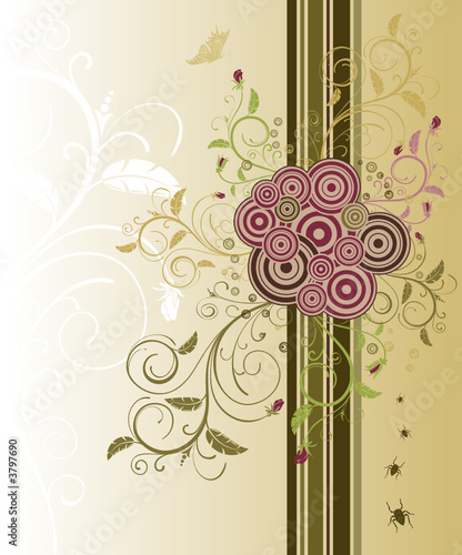 Abstract floral chaos with bug, vector illustration