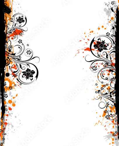 Abstract grunge floral frame, vector illustration