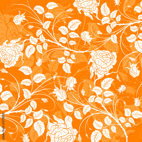 Abstract floral pattern with rose, vector illustration