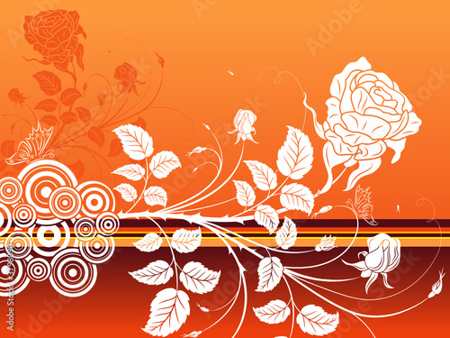 Abstract floral background with butterfly, vector illustration