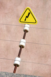Electric danger sign. High-voltage wire. poster