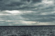 Cold north sea, sky covered with clouds.