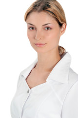 Youth woman in white medical robe