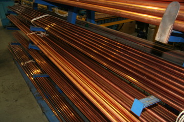 Copper Pipes on Storage Rack