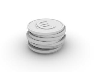 Pile of 3D coins (euro)