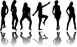 Silhouette of six girls with reflection on a white background