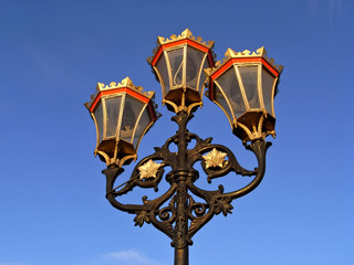 Street lamps, Putney Bridge, London UK
