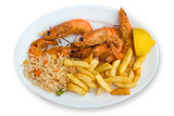 Menu of shrimp, rice and french fries poster
