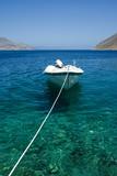 Docked motor boat at seaside poster