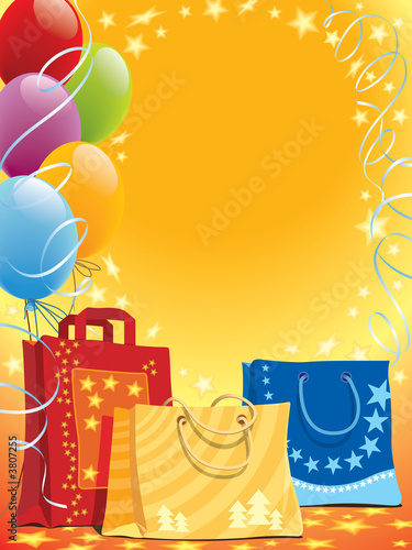 Illustration of shopping bags and colorful balloons