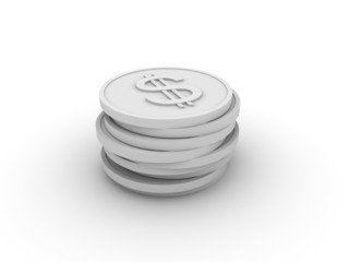 Pile of 3D coins - dollar
