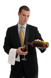 A waiter pouring a glass of red wine poster