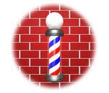 Barber Pole on red wall poster