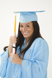 A female caucasian in light blue graduation gown poster