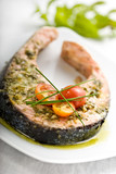 oven griiled salmon steak, covered in fresh herbs poster