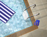3D render of a swimming pool in a pool house poster