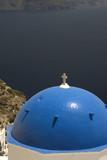 santorini famous greek island church over aegean   poster