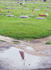 American flags adorn every serviceman's grave