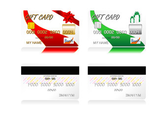 Different gift credit cards isolated over white background
