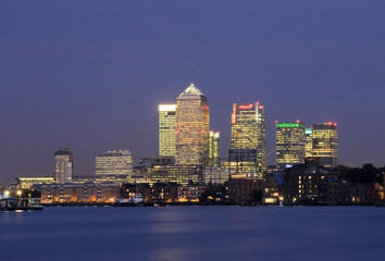 Canary Wharf at night. Financial district London.