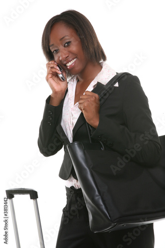 poster of A pretty business woman travelling with her suitcase