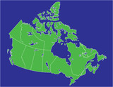 a basic map of canada with water in  blue and land in green poster