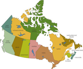 a full color map of canada with province names called out