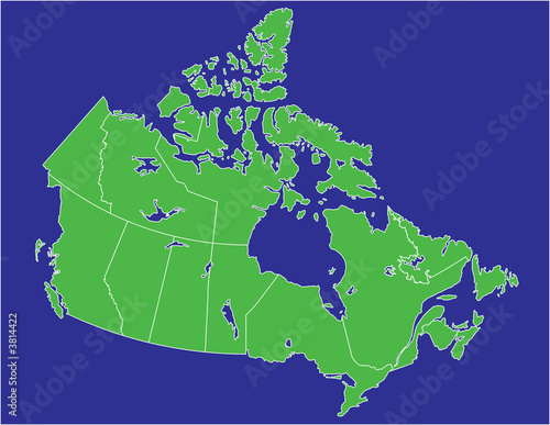 a basic map of canada with water in  blue and land in green