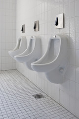A row of urinals from the side