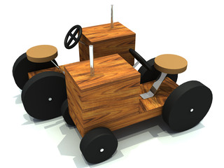 two toy wood tractors c different orientation