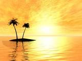 3D landsape. Two palms in ocean poster