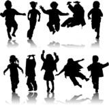Fototapety Vector silhouette girls and boys, illustration